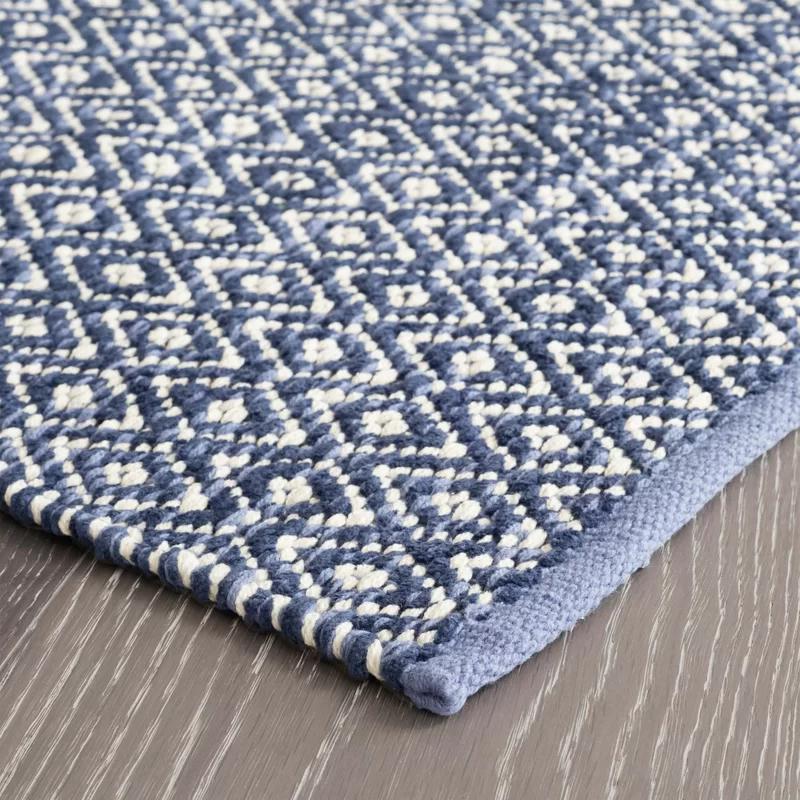 Diamond Geometric Handmade Flatweave Blue Area Rug Blue Cotton Rug Dash And Albert Rugs Rugs