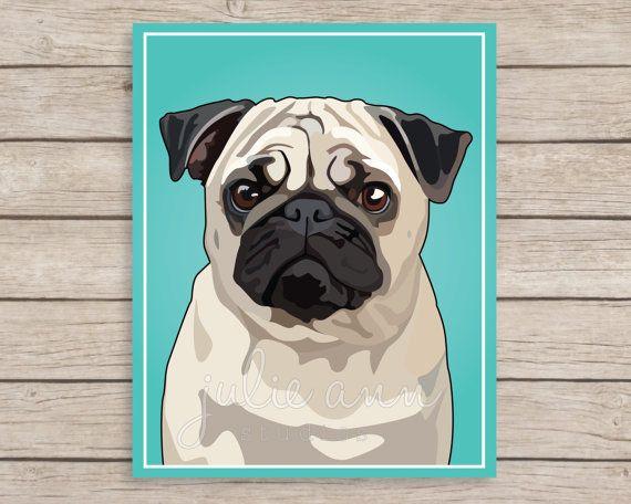 Pug Art Print Pug Dog Art Pug Decor Pug Wall Art Dog Art Pug