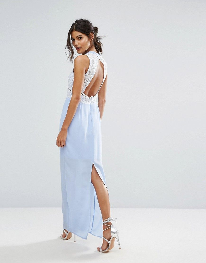 Elise ryan contrast lace maxi dress with open back purple