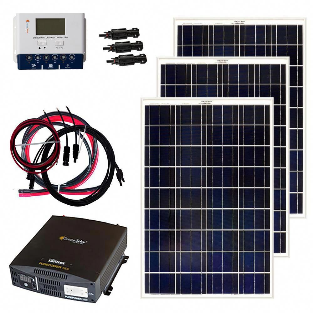 Grape Solar 300 Watt Off Grid Solar Panel Kit Solarpanelkits With Images Rv Solar Solar Kit Off Grid Solar