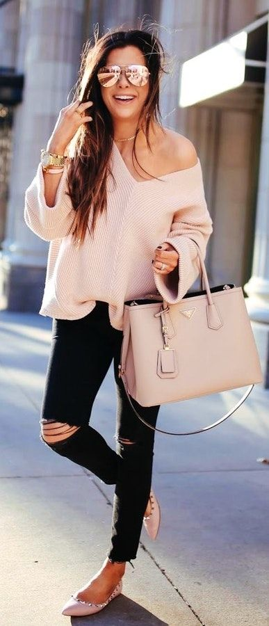 #spring #outfits  Blush Knit + Black Ripped Skinny Jeans + Beige Leather Tote Bag