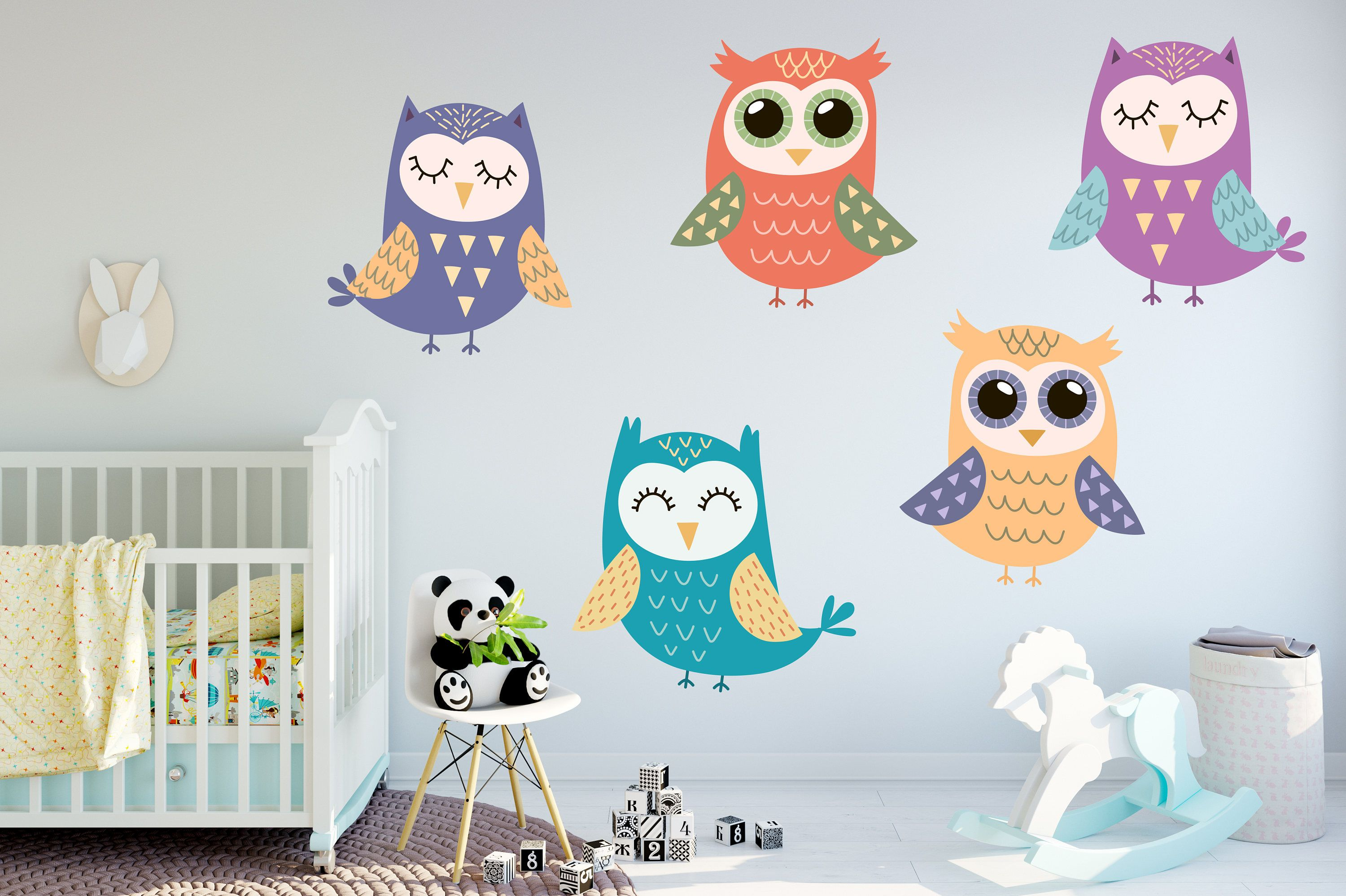 Colorful Owl Wall Decal Set Colorful Owl Stickers Kid S Etsy Sova