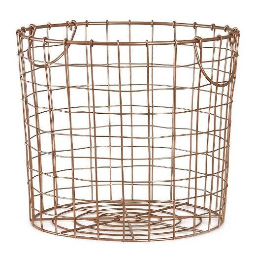 Copper Wire Basket, Large Round Wire Basket