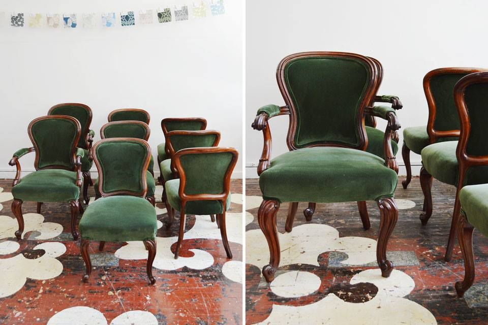 we reupholstered our client 39 s set of eight dining chairs in a rich green velvet by kravet. Black Bedroom Furniture Sets. Home Design Ideas
