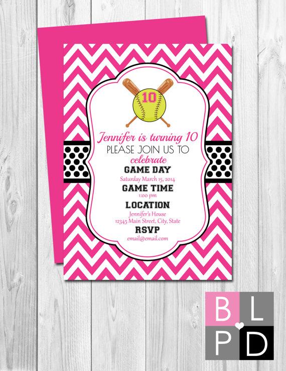 chevron softball invitation  diy printable  birthday party, party invitations
