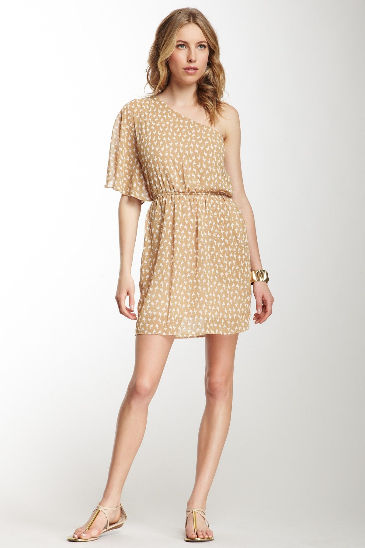 Peach Love Cream California Duck Print One Shoulder Dress