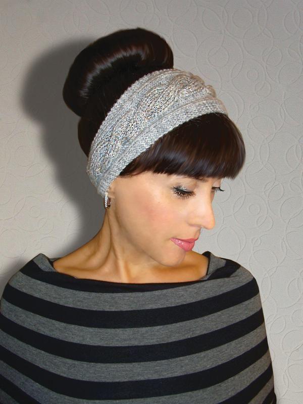 вязаная повязка на голову стильный серый за 350 грн вязаные