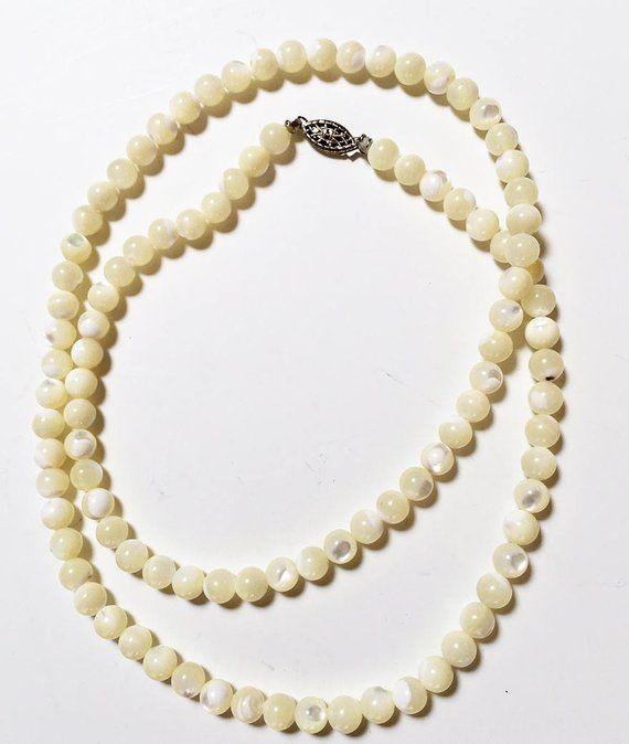 b32bb85821a2a ON SALE Mother of Pearl Necklace - White Mother of Pearl Bead ...
