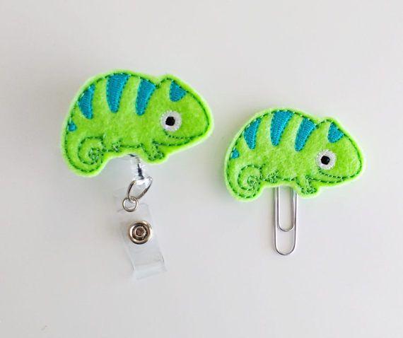 Chameleon Felt Paperclip | Badge Reel | ID Badge | Felt Badge | Badge Holder | Lanyard | Planner Clip | Planner Accessories | Felt Lizard