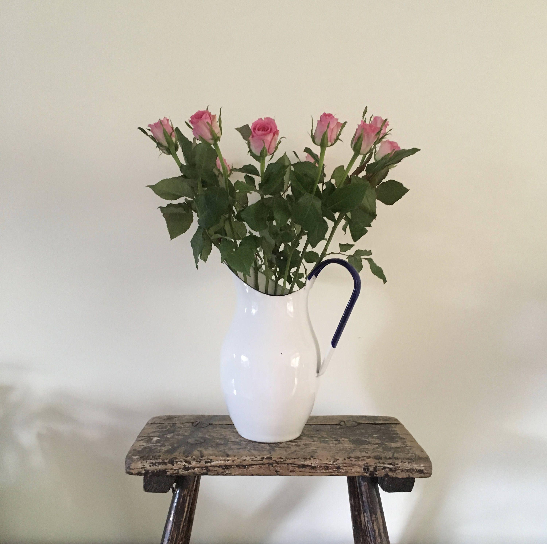 Vintage style enamel pitcherjug flower vase white with a blue vintage style enamel pitcherjug flower vase white with a blue handle home decor shabby chic reviewsmspy
