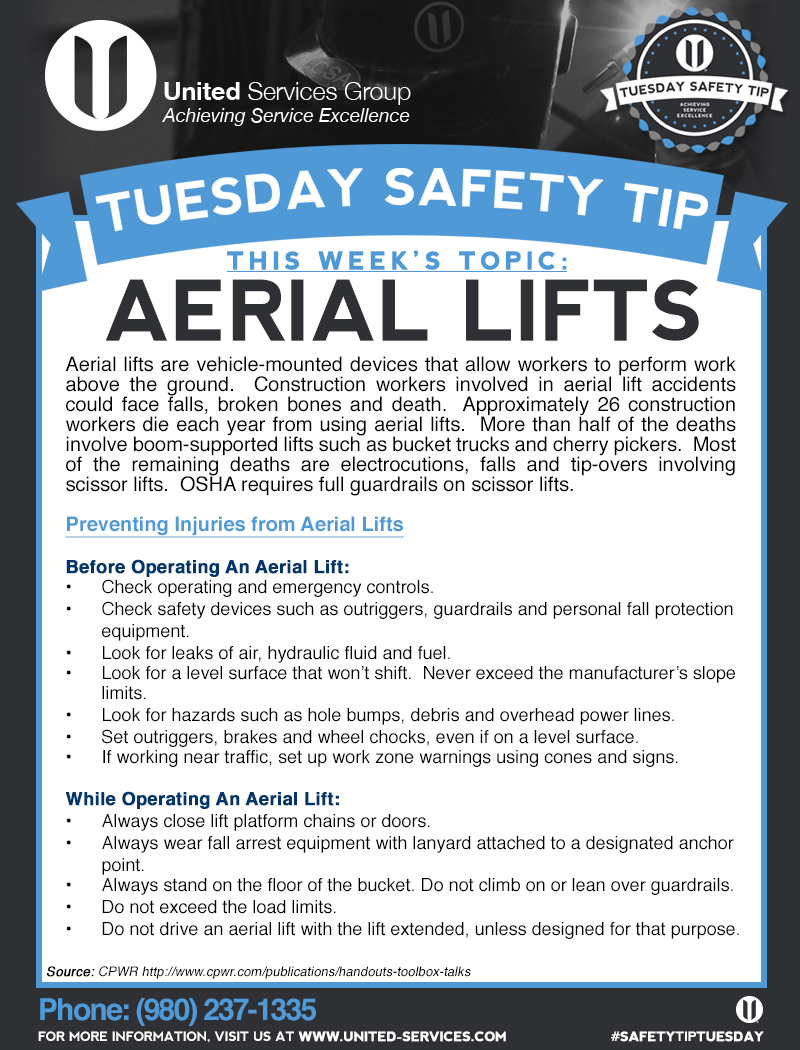 This week's Tuesday Safety Tip is about Aerial Lifts
