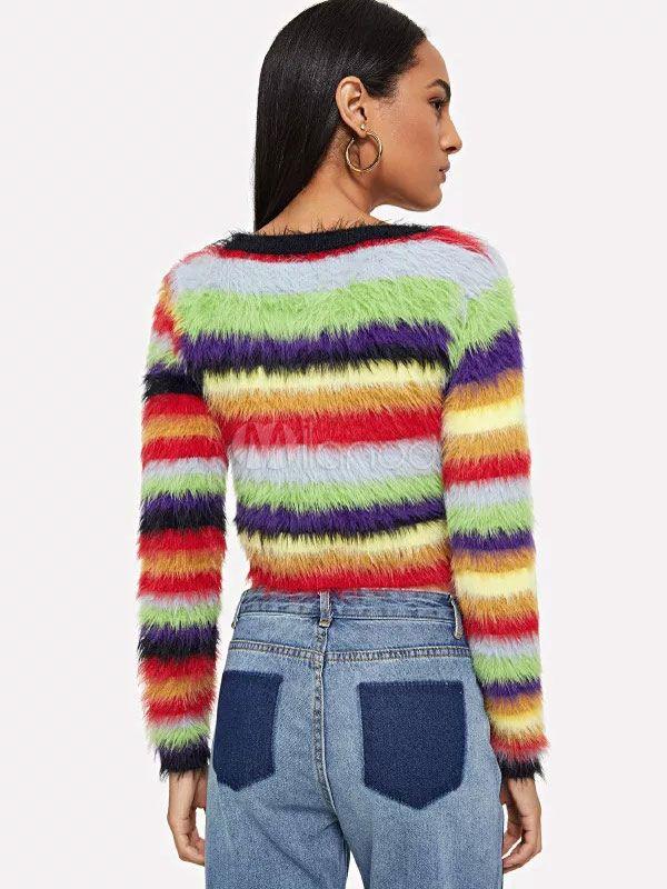 7990738aff6e1 Rainbow Stripe Crop Top Long Sleeve Round Neck Fuzzy Sweater  Crop ...