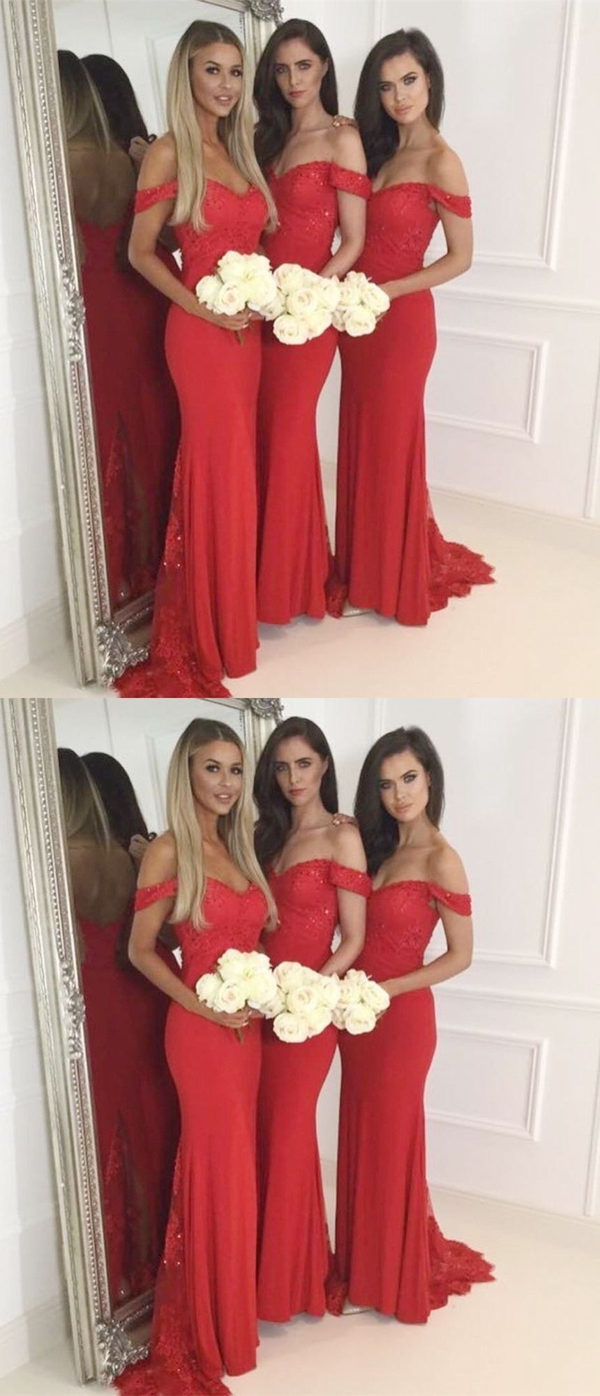 Chic mermaid bridesmaid dresses red off shoulder wedding party