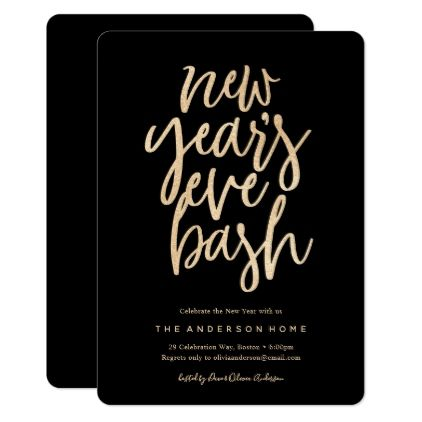 new years eve bash faux glitter party invitation foil leaf gift idea special template