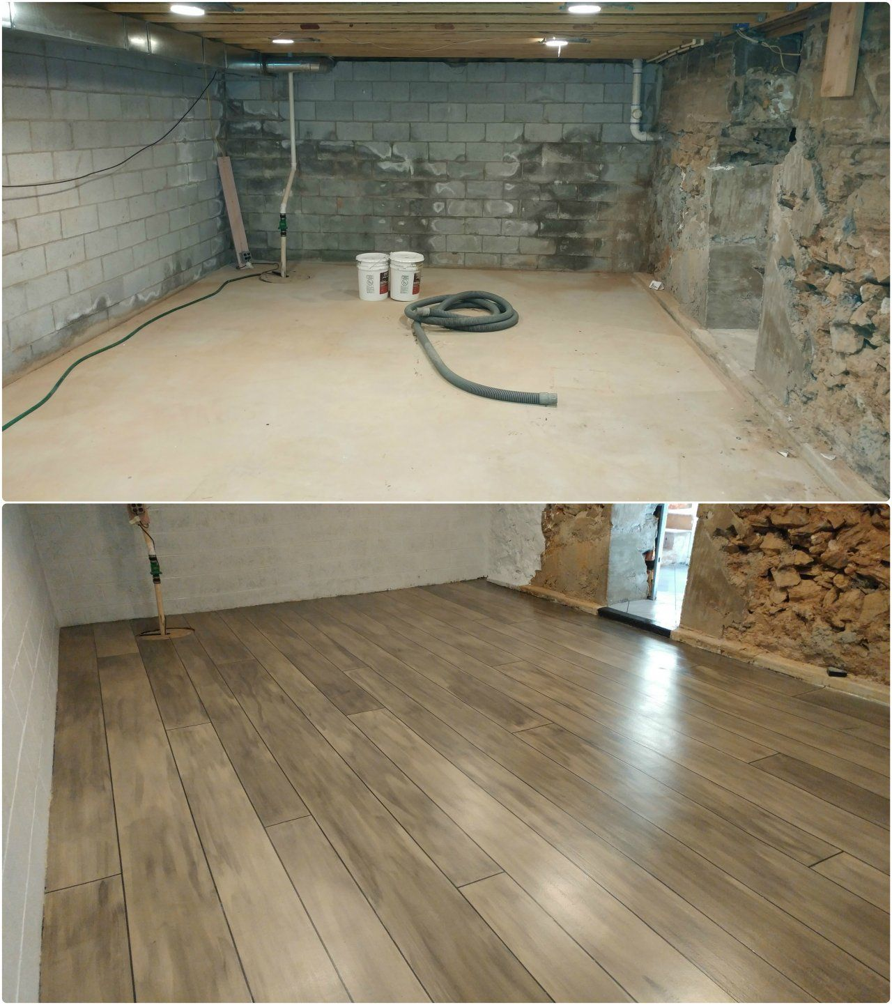 Basement refinished with concrete wood ardmore pa for Concrete floor covering ideas