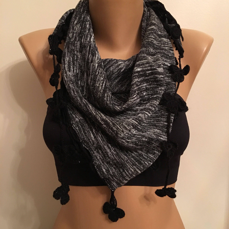 Photo of 40% Sale Comfortable Winter Scarf Black Flower Crochet   Etsy