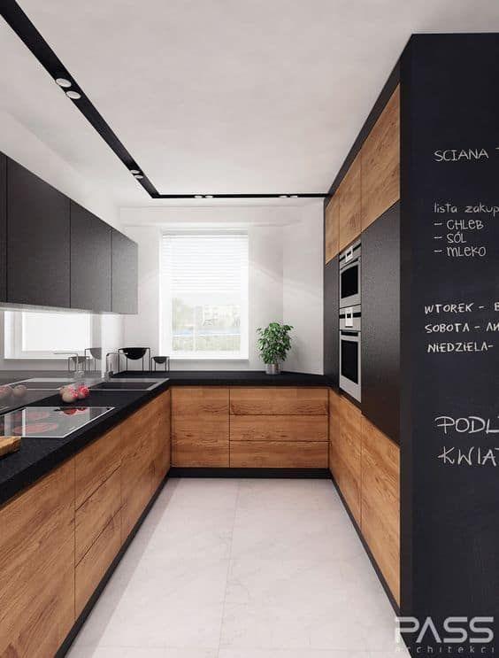 Hervorragende Schwarz- und Holzküchen, die Ihrem Zuhause Stil verleihen #modernwood ... #darkkitchencabinets