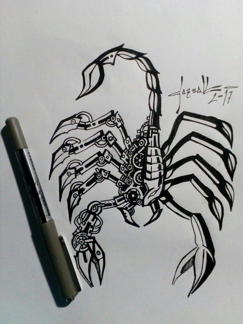 Escorpion Mecanico Para Tatuaje 1 Art Humanoid Sketch