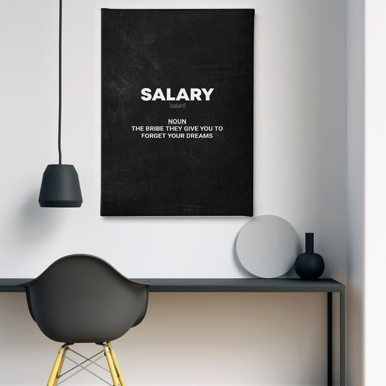Best Motivation Salary Quote Noun Special Design Canvas Wall Etsy Office Wall Art Framed Canvas Wall Art Canvas Wall Art