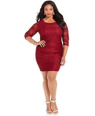 Trixxi Plus Size Lace Bodycon Dress Junior Plus Dresses Plus