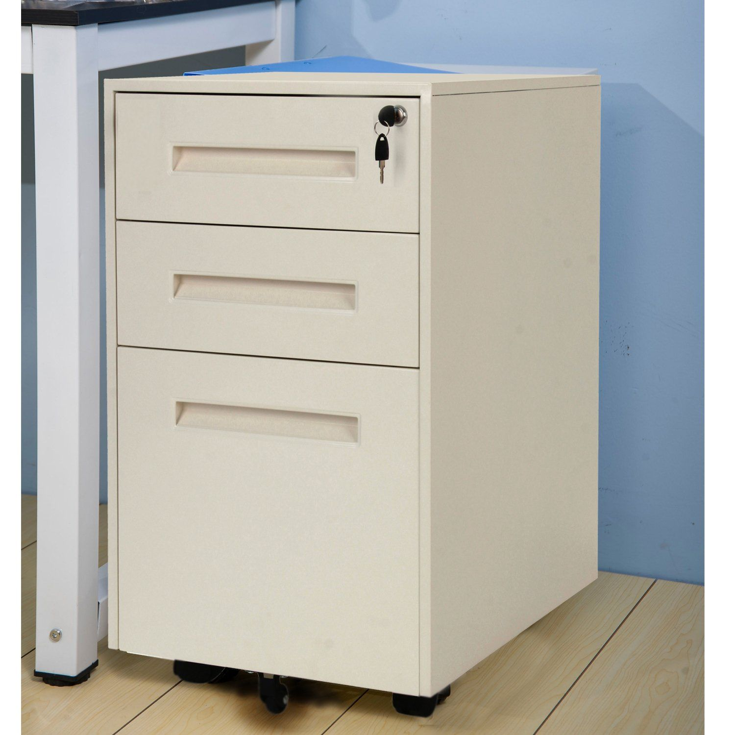 Merax Metal Solid Mobile Storage 3 Drawer File Cabinet with Keys ...