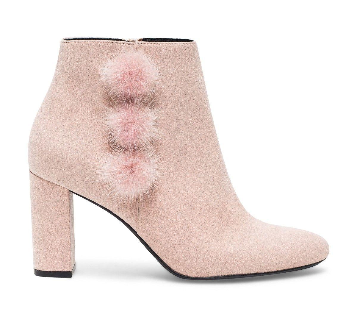 Boots rose à talon avec pompons - Boots / bottines - Chaussures femme
