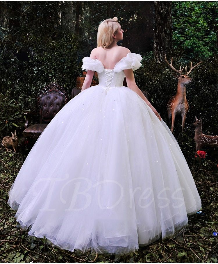 6073238976b Off the Shoulder Ruffles Cinderella White Tulle Ball Gown Wedding Dress -  m.tbdress.com