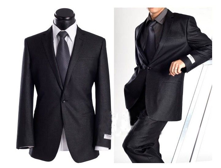 Armani Wedding Suit (black pinned stripe suit with back tie ...