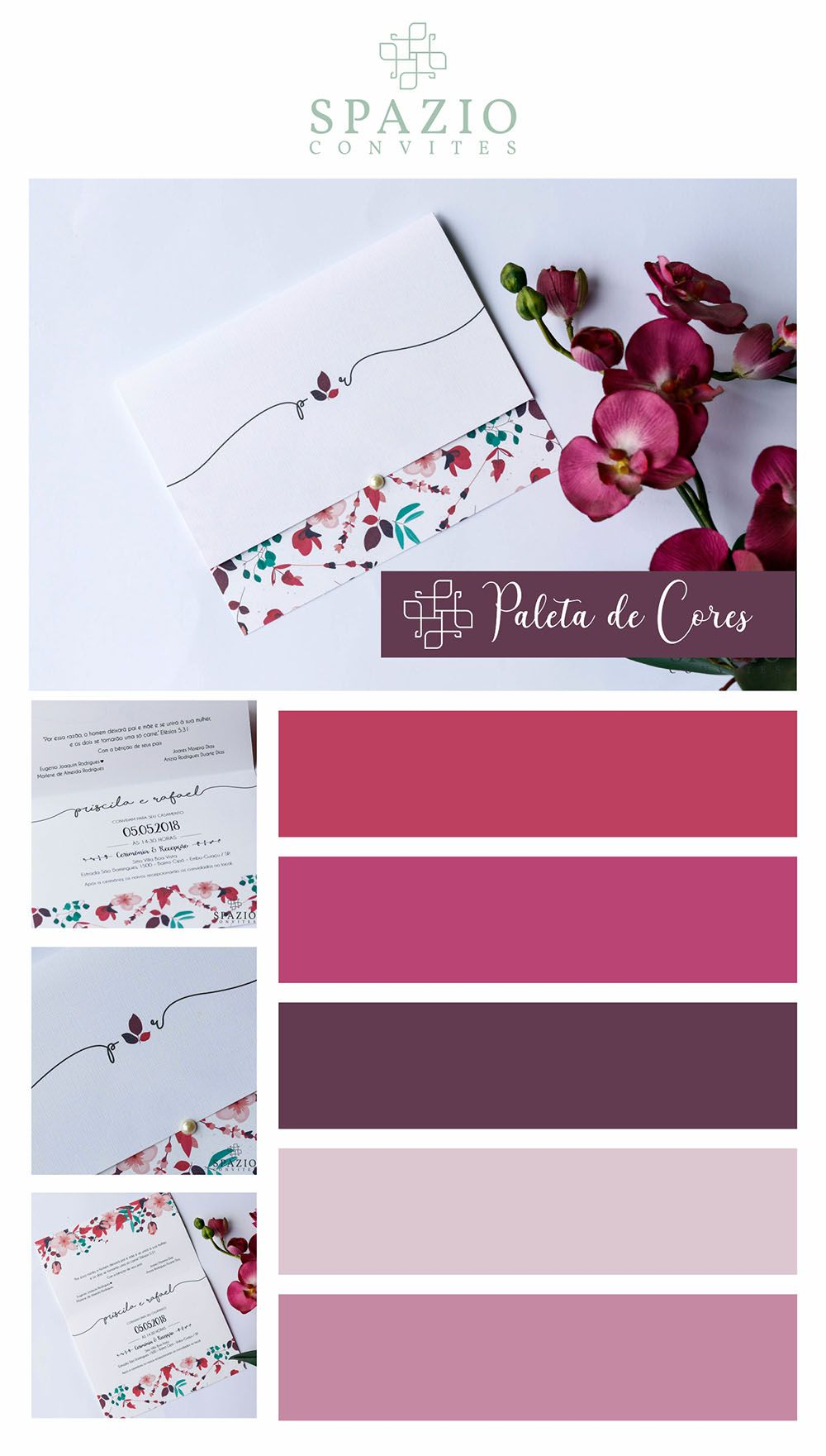 Convite De Casamento Floral Marsala Spazio Convites Cores Para