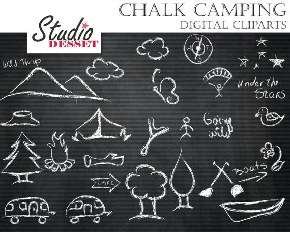 Straight Line Borders Clip Art : Camping cliparts chalkboard doodles chalk clip art forest tent