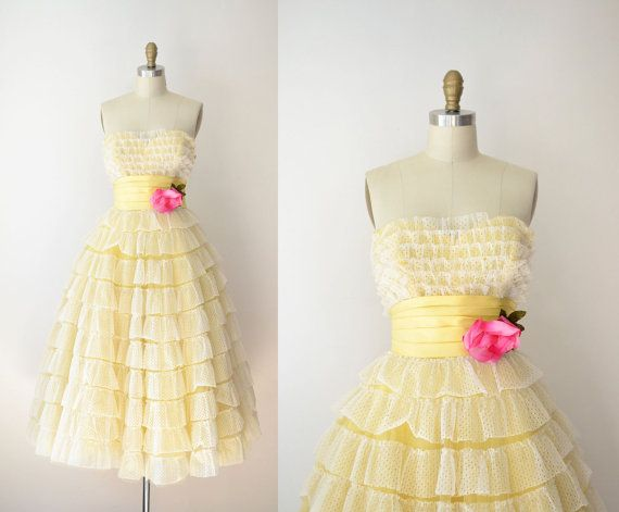1950s Prom Dress / 50s Yellow Eyelet Party Dress | 1950s prom dress ...