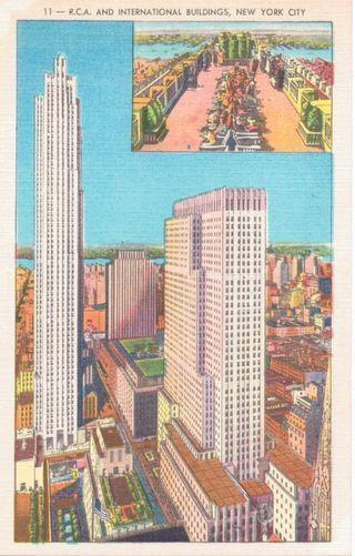 Rockefeller Center NYC NYVintage Postcard  Formerly for Sale (Art Deco Architecture) newyorkcitybuildings #doodle #30rock #rockefellercenter #famouslandmarks #vintagepostcards #oldandnew #artforsale #artdeco