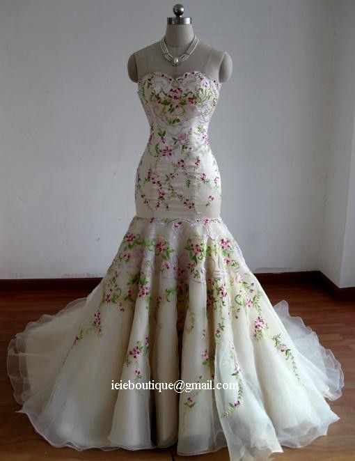 Spring Garden Mermaid Wedding Dress CM1025 by ieie on Etsy, $699.00....dare to be different in this exquisite spring flavored gown