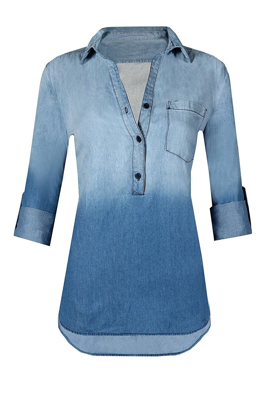 a836e5def HOT FROM HOLLYWOOD Women's Button Down Roll Up Sleeve Classic Denim Shirt  Tops