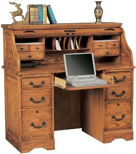 48 Solid Wood Roll Top Desk Fhd966 By Wilshire Furniture 1399 00 4 Utility Drawers File Drawers Accommodate Letter And Legal Roll Top Desk Desk Furniture