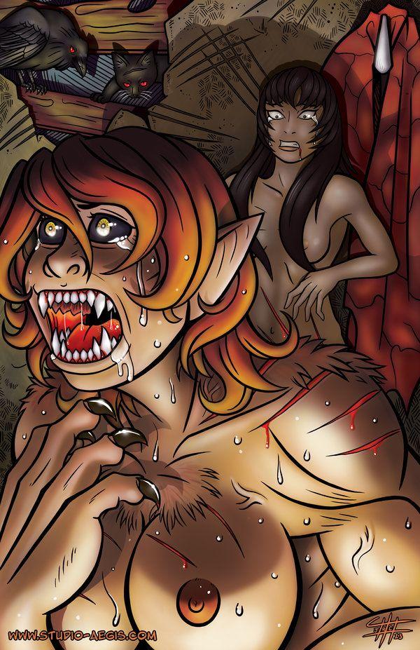 nude woman werewolf transformation