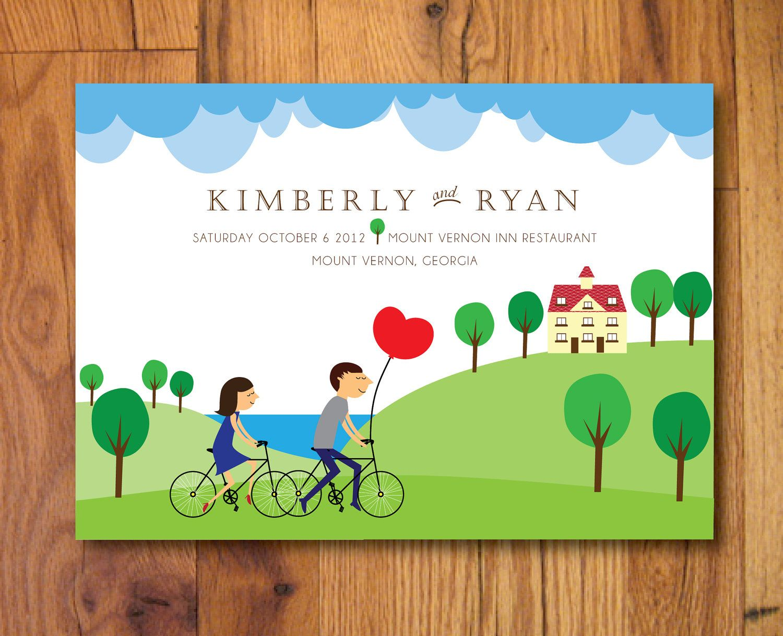Illustrated Bicycling Couple and Wedding Venue - Custom Printable DIY Invitation Wedding Invites Sets. $50.00, via Etsy.