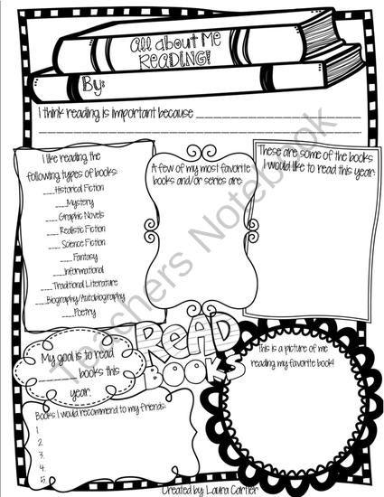 All About Me Reading Poster from The Reading Fairy on