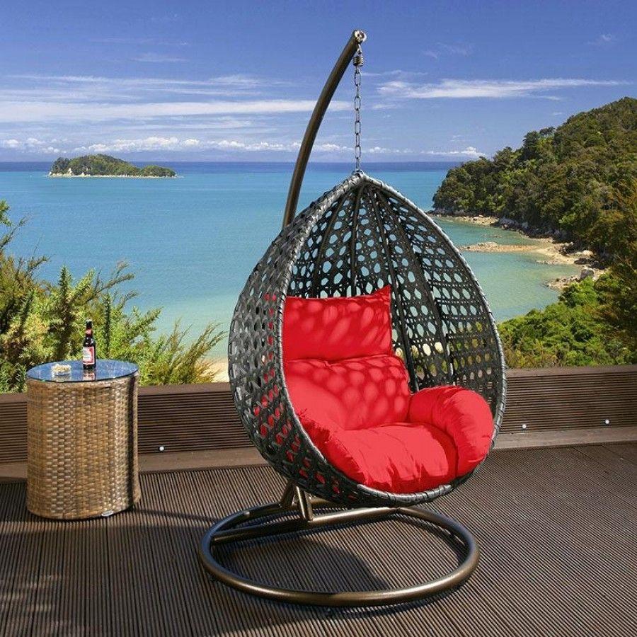 Quatropi Luxury Outdoor Garden Hanging Chair Black Rattan Red Cushion In  Garden U0026 Patio, Garden U0026 Patio Furniture, Swing Seats