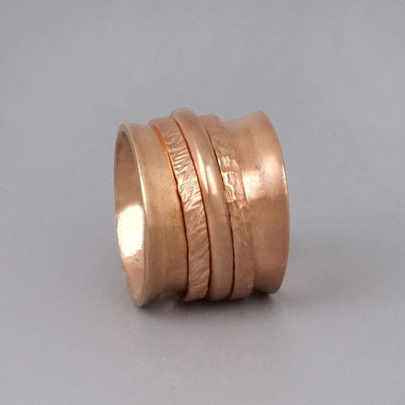Rose Gold Spinner Ring Wide Gold Ring Spinning Ring Statement