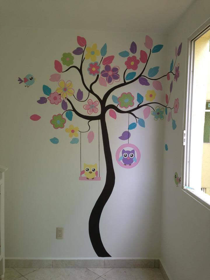 Lindo mural hecho por pintare co www for Decoracion paredes habitacion bebe nina