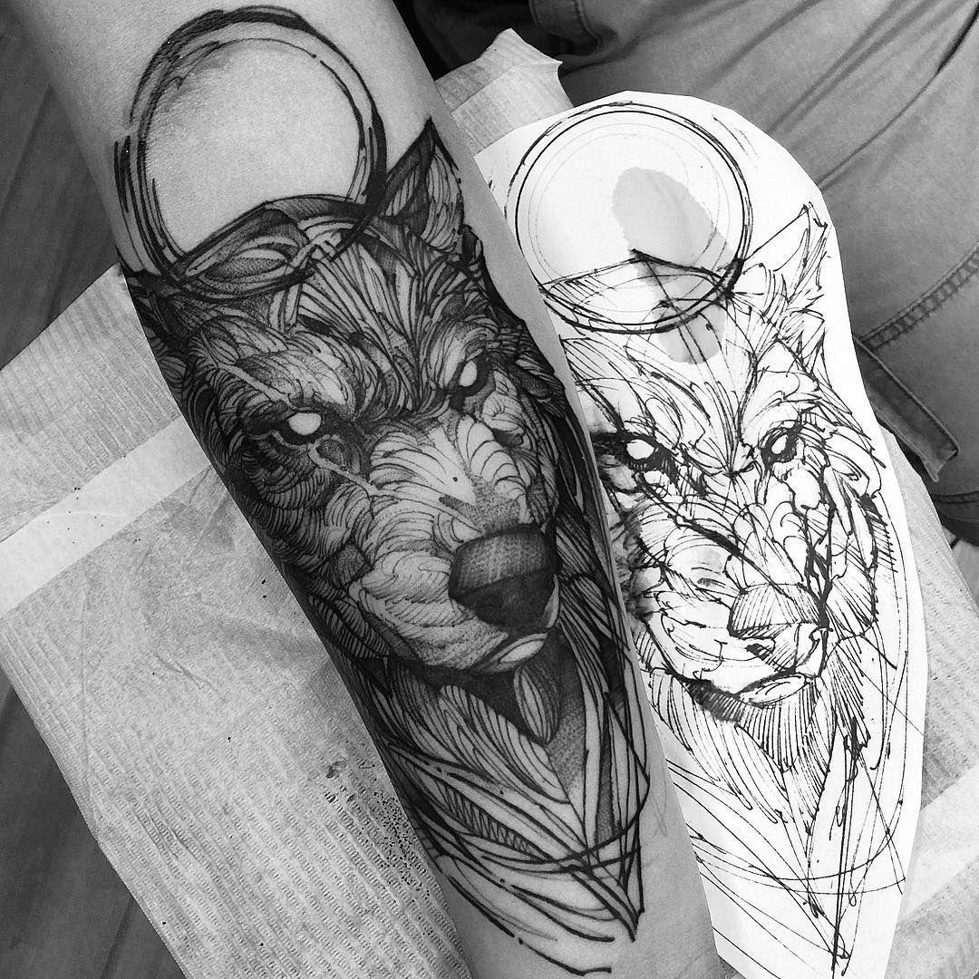 Wolf Ink Style Tatuagens Na Parte Superior Das