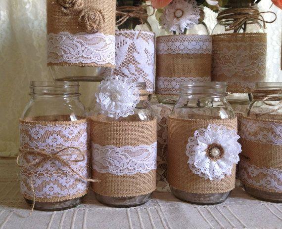 10 x arpillera r stica y encaje blanco cubierto tarro por - Diy frascos decorados ...