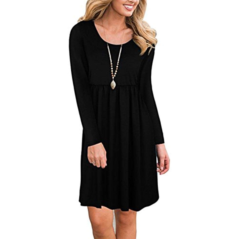 Womens Long Sleeve Casual Loose Solid T Shirt Dress Knee Length