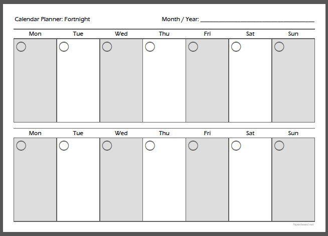 calendar planner fortnight a4 organize pinterest family