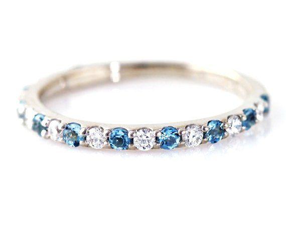 14k aquamarine diamond ring anniversary band wedding band stackable ring custom march birthstone ring white - Birthstone Wedding Rings