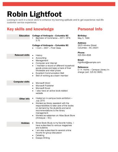 Book or Retail Store Position - Resume Template Resume Templates - retail sample resume
