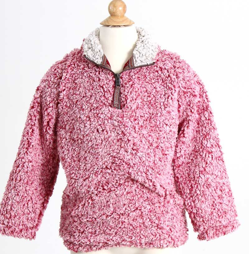 a001312e0336 True Grit Frosty Tipped Sherpa Pullover for Kids in Red 71Y02FTP-RED ...