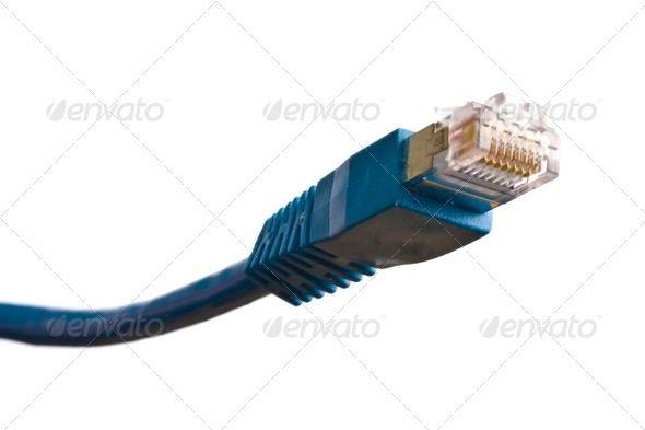 Blue network plug (closeup, communication, computer, connection ...