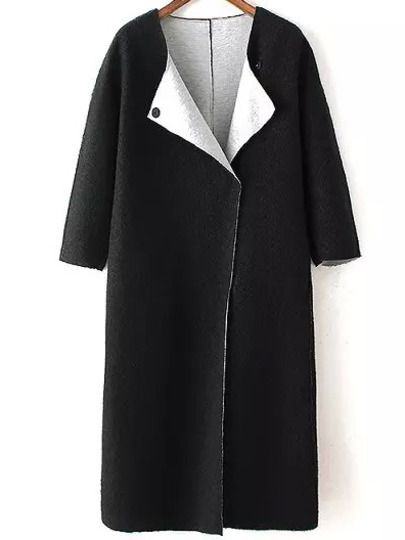 Shop Black Vintage Simple Long Coat at victoriaswing, personal womens clothing online store! high quality, cheap and big discount, latest fashional style!